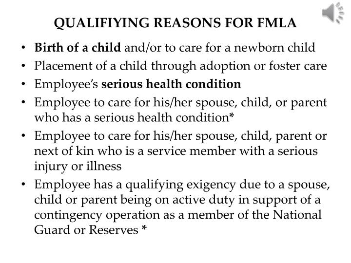 QUALIFIYING REASONS FOR FMLA