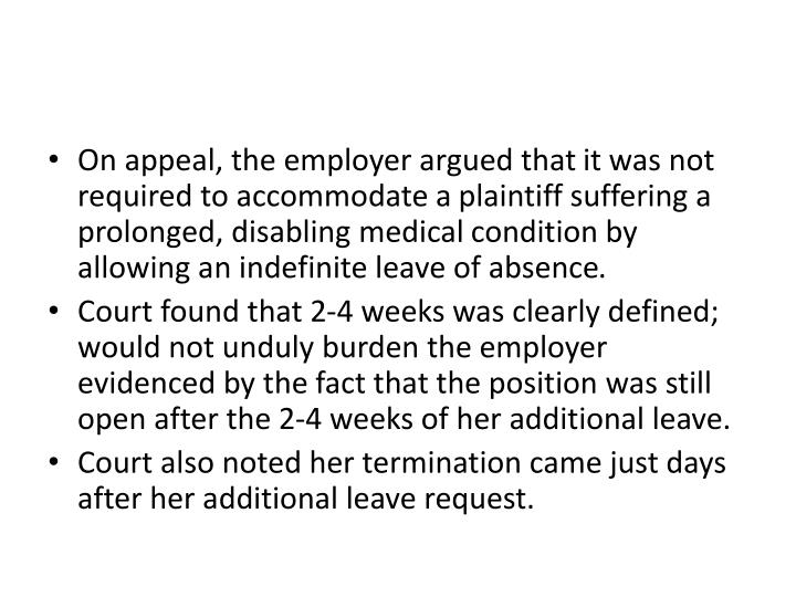 On appeal, the employer argued that