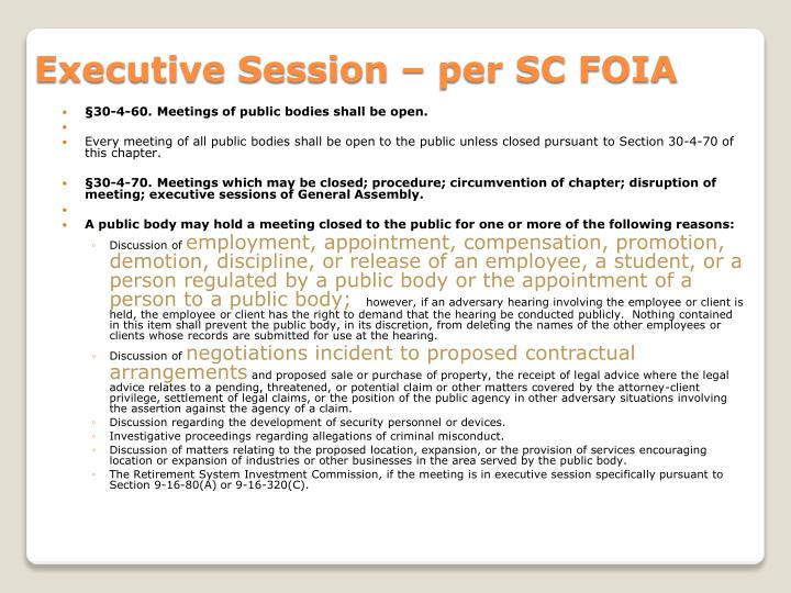 Executive Session – per SC FOIA