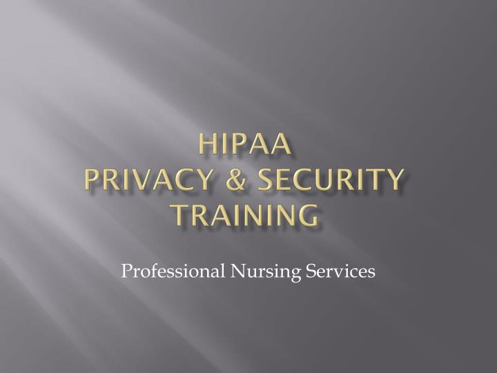 Hipaa privacy security training