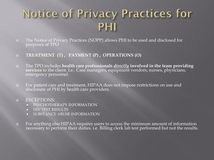 Notice of Privacy Practices for PHI