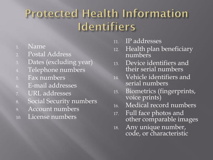 Protected Health Information Identifiers