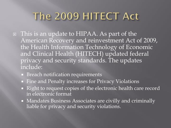 The 2009 HITECT Act