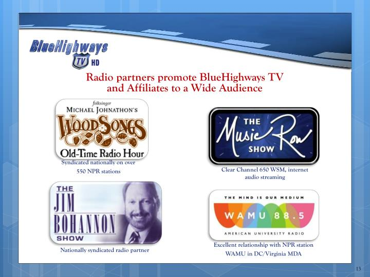 Radio partners promote BlueHighways TV