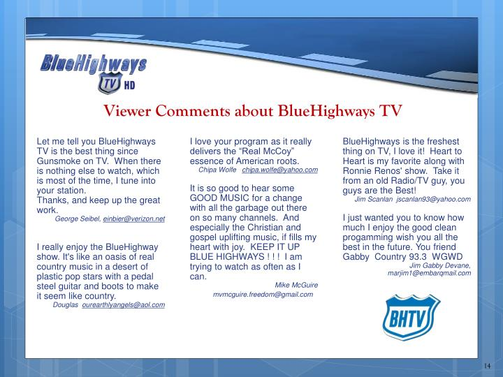 Viewer Comments about BlueHighways TV