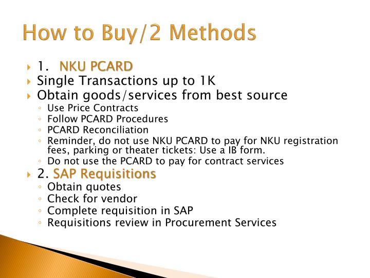 How to Buy/2 Methods