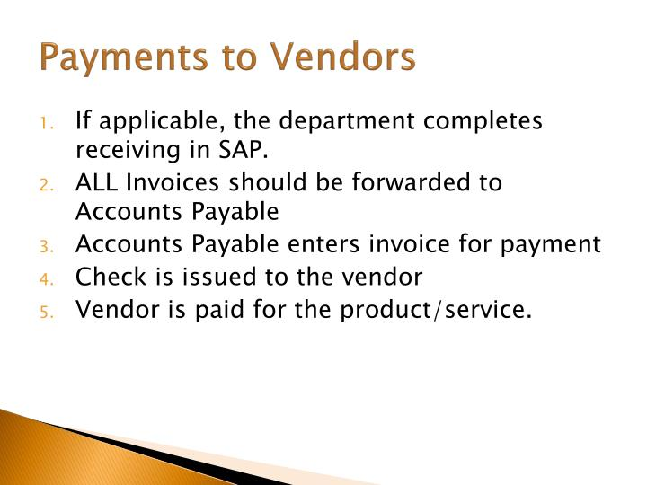 Payments to Vendors