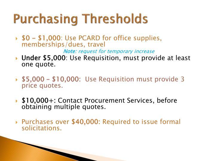 Purchasing Thresholds