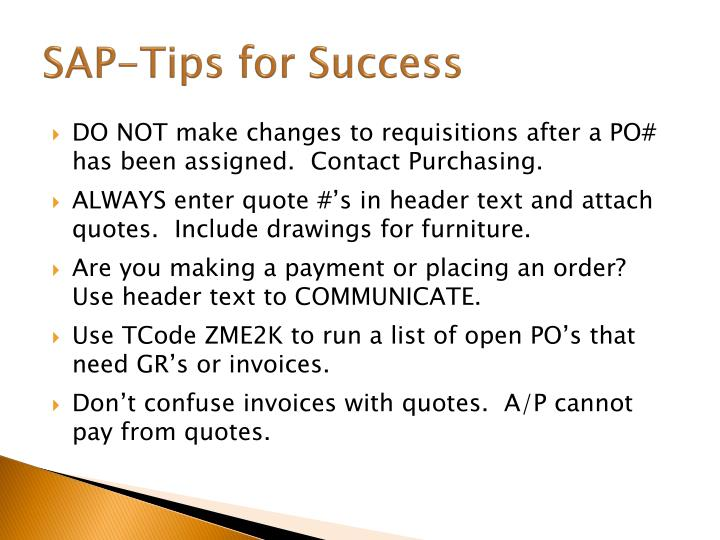 SAP-Tips for Success