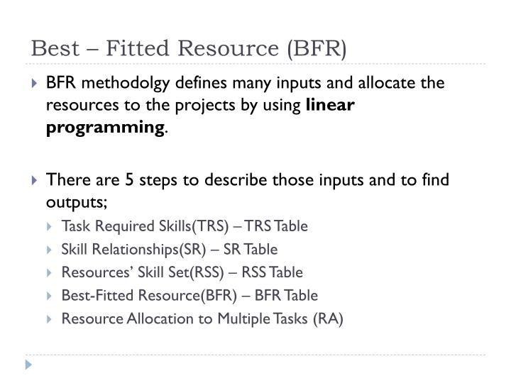 Best – Fitted Resource (BFR)