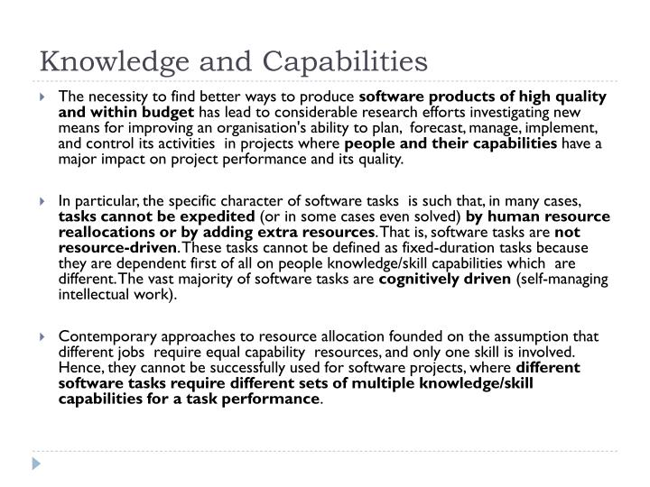 Knowledge and Capabilities