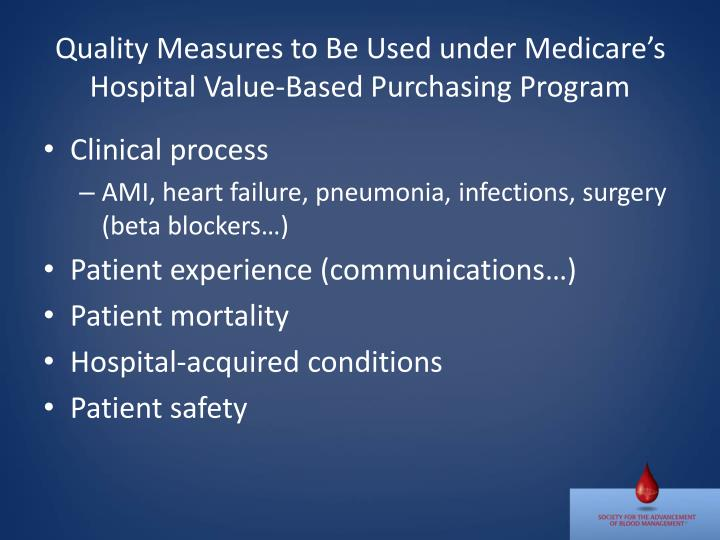 Quality Measures to Be Used under Medicare's Hospital Value-Based Purchasing Program