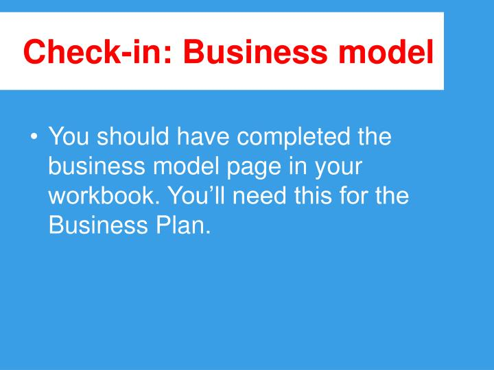 Check in business model