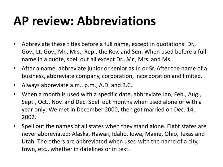 AP review: Abbreviations