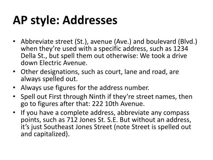 AP style: Addresses