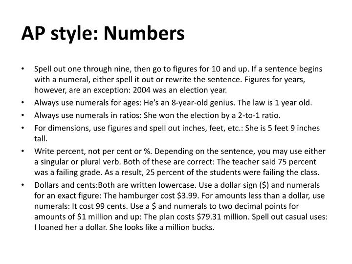 AP style: Numbers