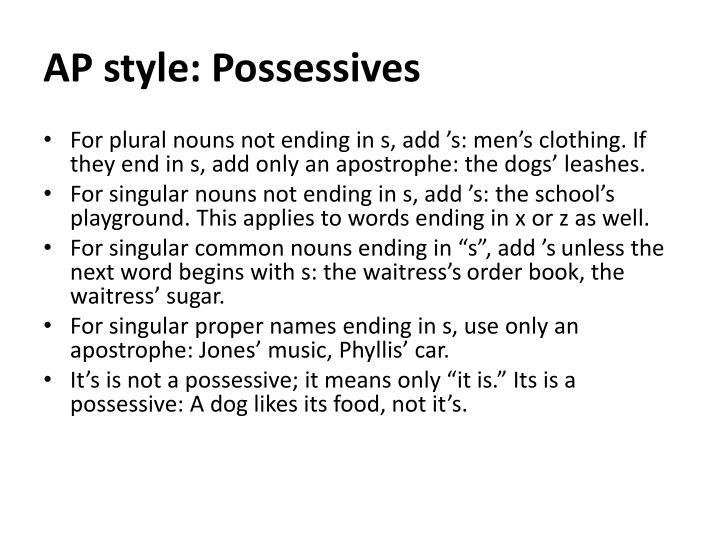 AP style: Possessives
