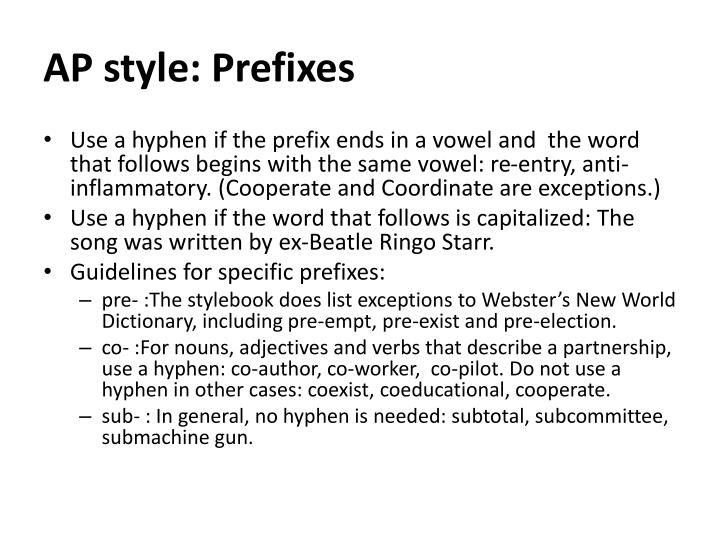 AP style: Prefixes