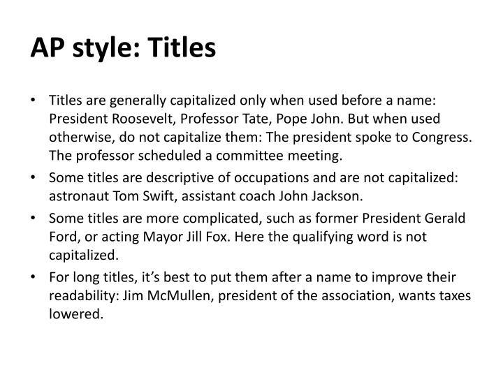 AP style: Titles