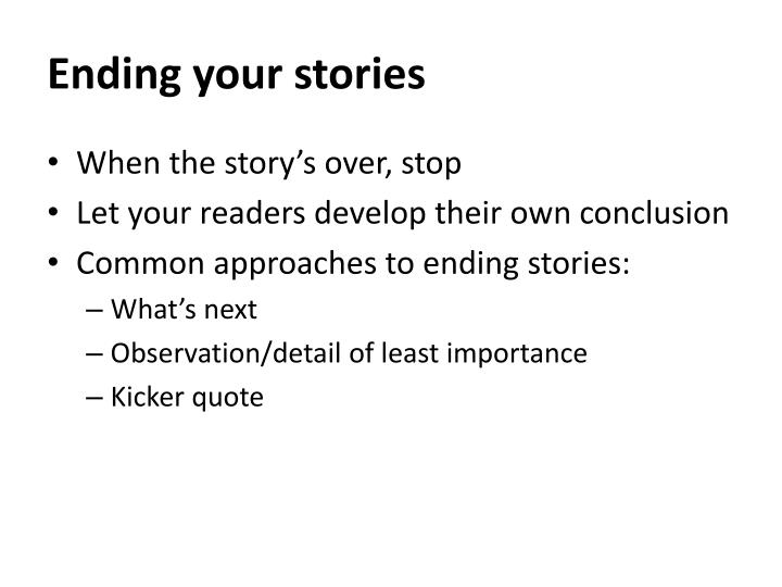 Ending your stories