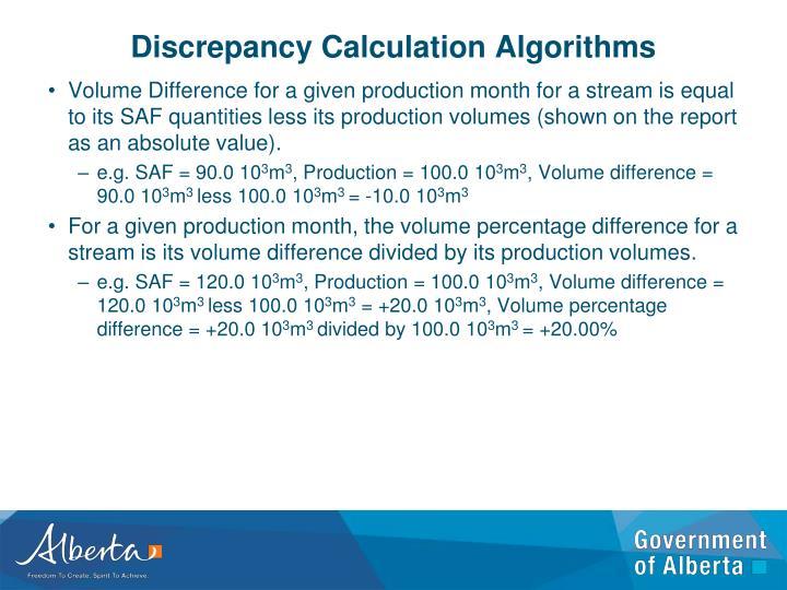 Discrepancy Calculation Algorithms