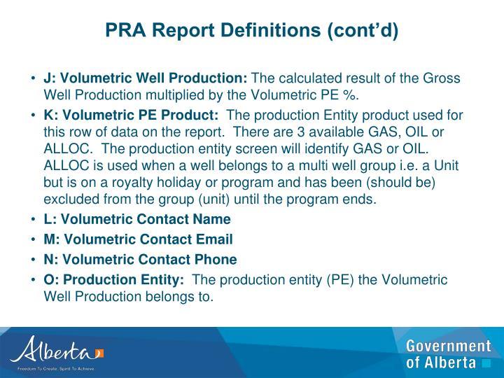 PRA Report Definitions (cont'd)