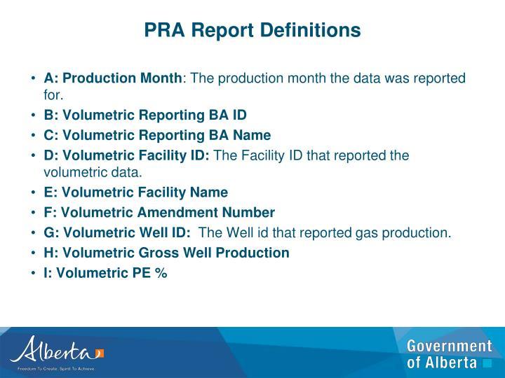 PRA Report Definitions