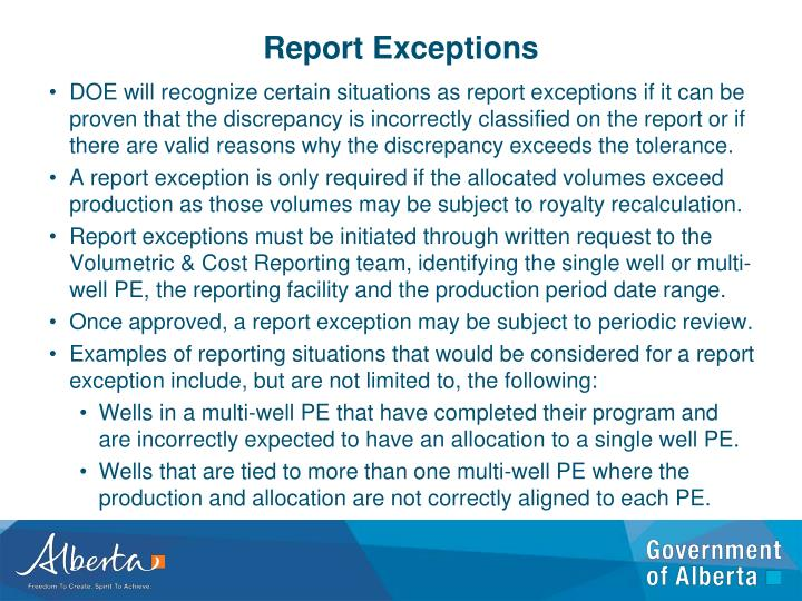 Report Exceptions