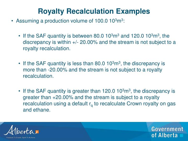 Royalty Recalculation Examples