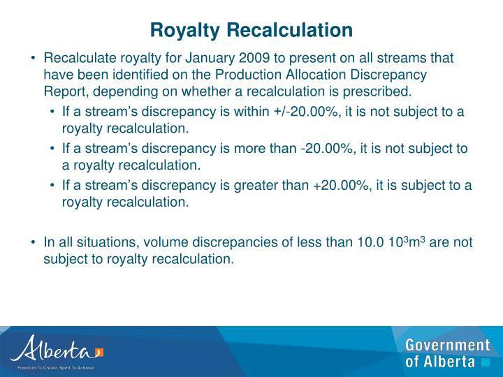 Royalty Recalculation
