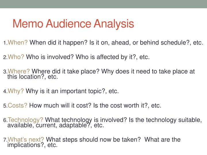 Memo Audience Analysis