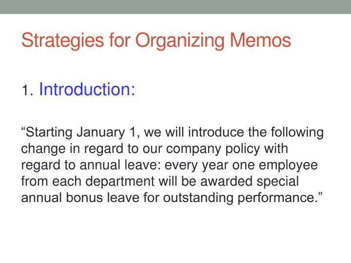 Strategies for Organizing Memos