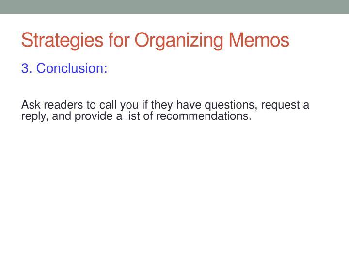 Strategies for Organizing Memos