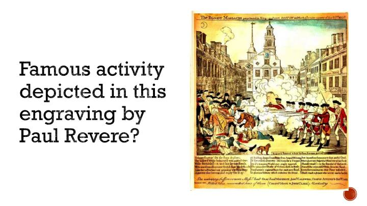 Famous activity depicted in this engraving by Paul Revere?