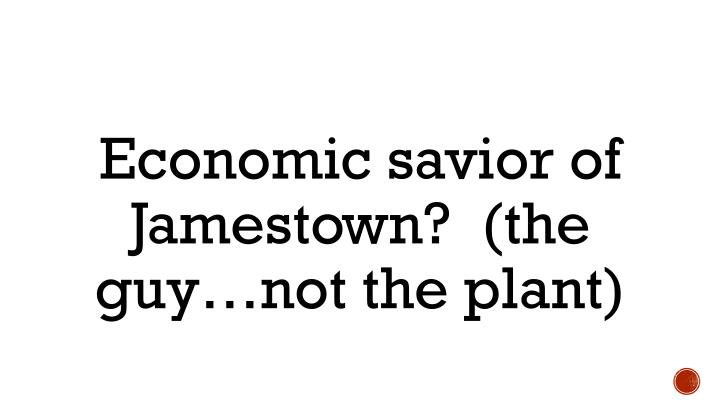 Economic savior of Jamestown?  (the guy…not the plant)
