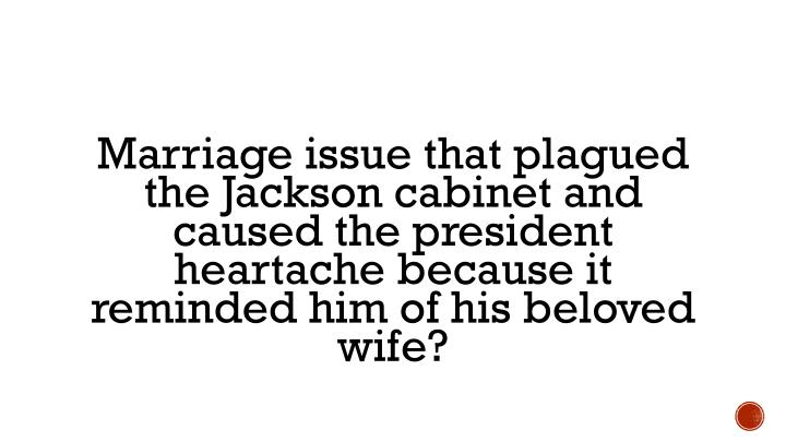 Marriage issue that plagued the Jackson cabinet and caused the president heartache because it reminded him of his beloved wife?