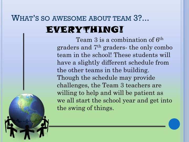 What's so awesome about team 3?...