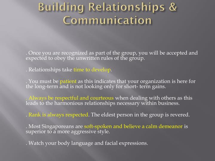 Building Relationships & Communication