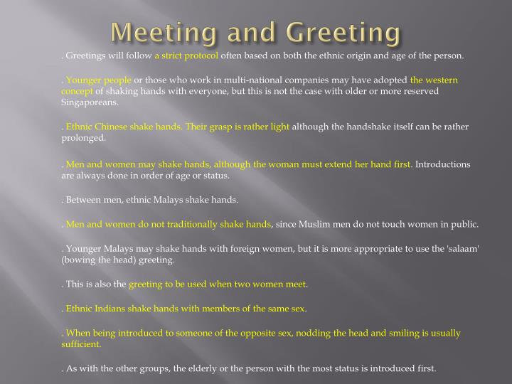 Meeting and Greeting