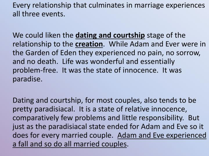 Every relationship that culminates in marriage experiences all three events.