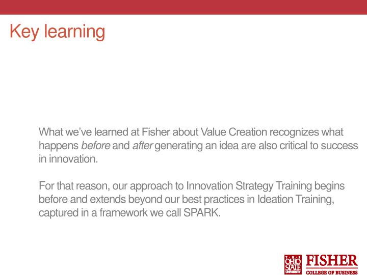 What we've learned at Fisher about Value Creation recognizes what happens