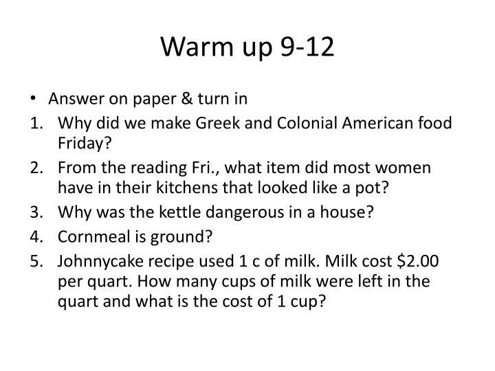 Warm up 9-12