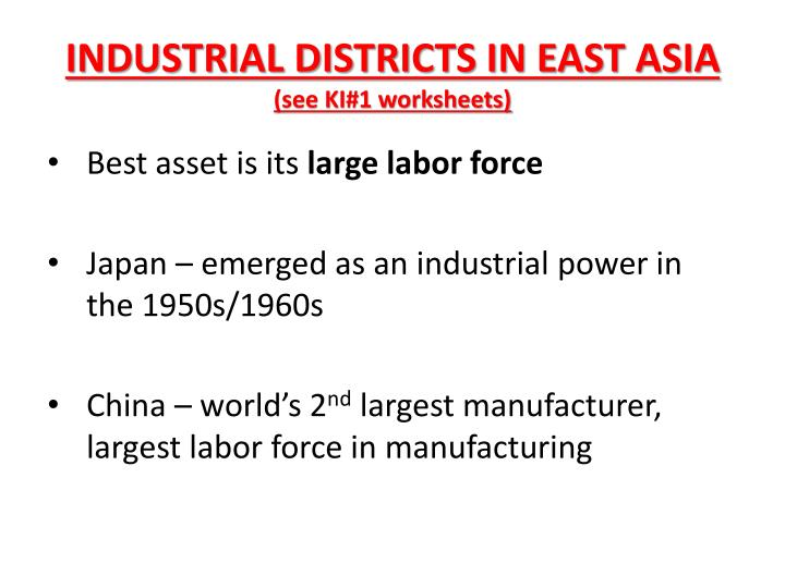 INDUSTRIAL DISTRICTS IN EAST ASIA
