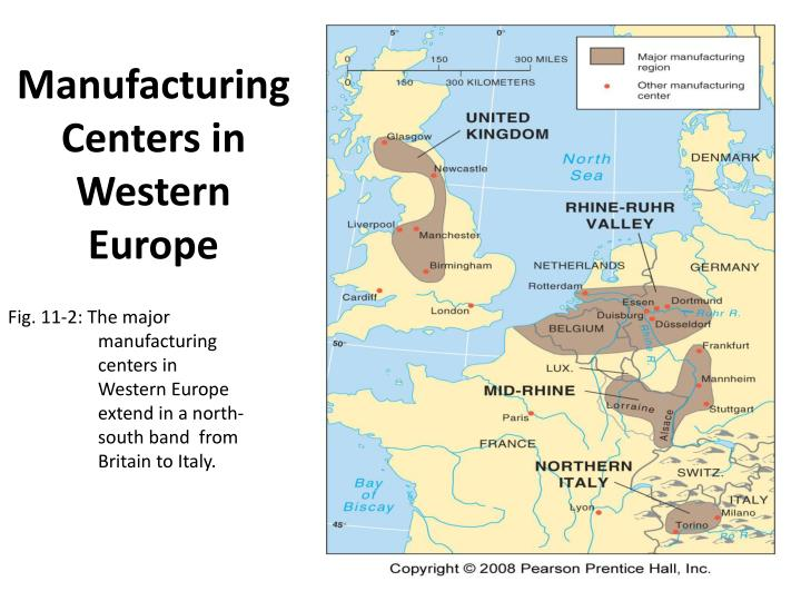 Manufacturing Centers in Western Europe