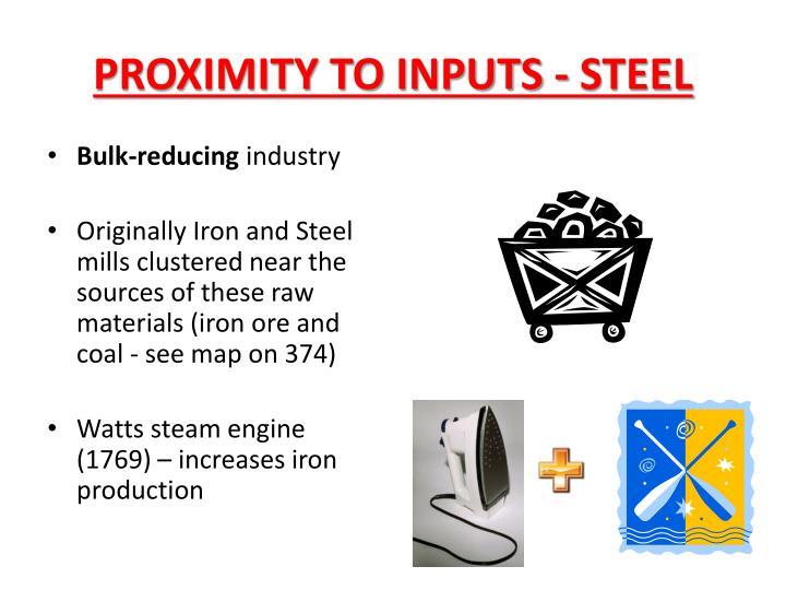 PROXIMITY TO INPUTS - STEEL