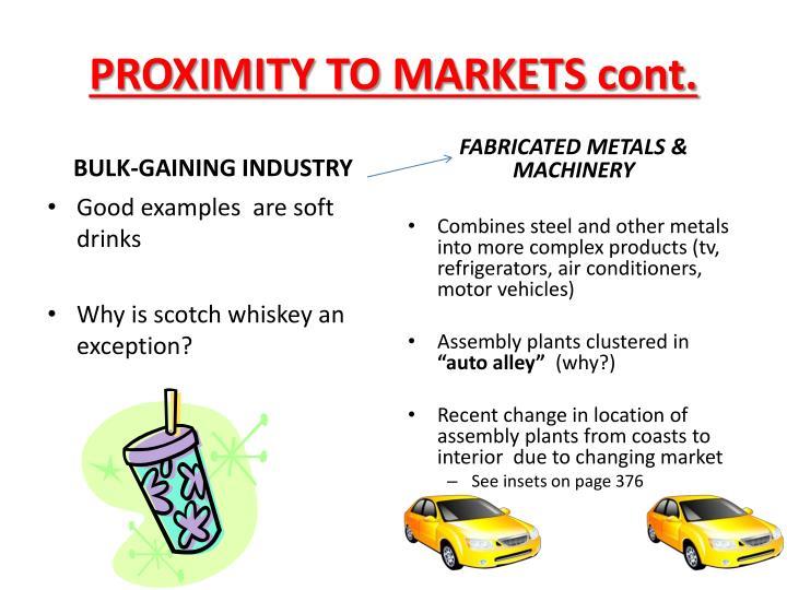 PROXIMITY TO MARKETS cont.