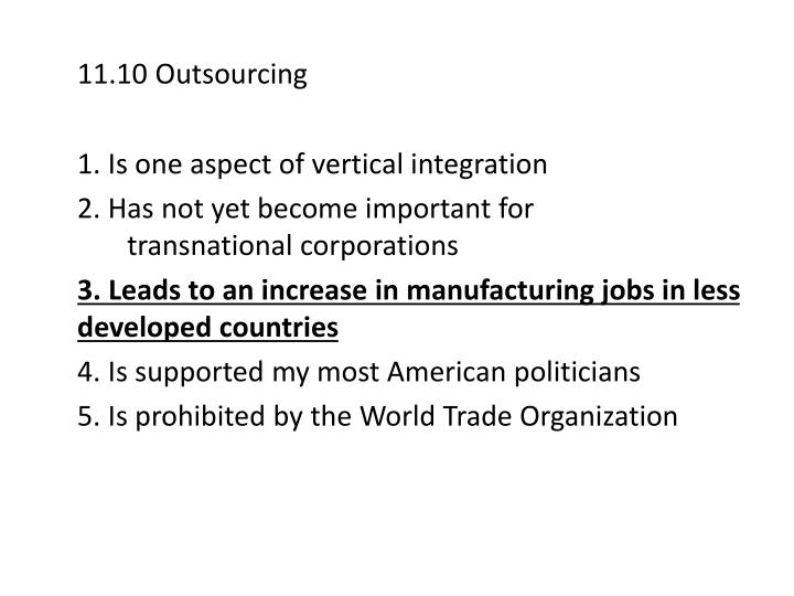 11.10 Outsourcing