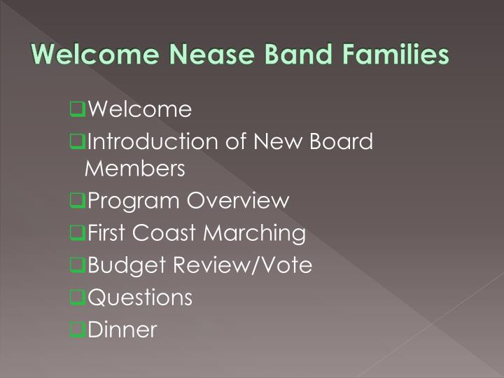 Welcome nease band families