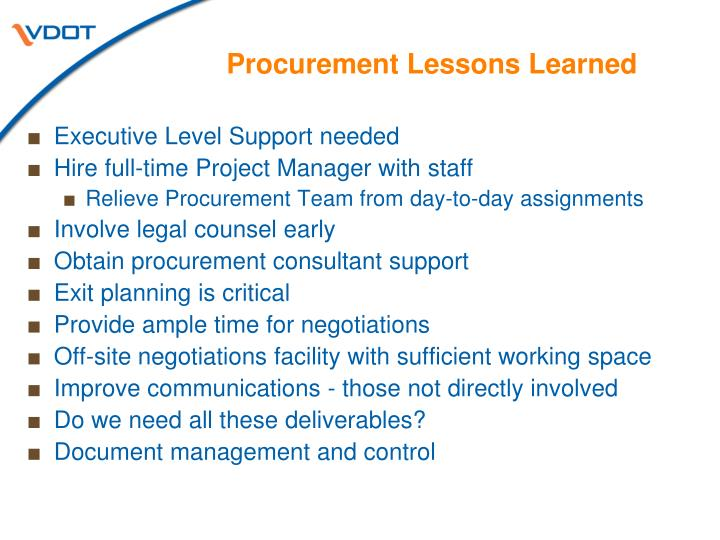 Procurement Lessons Learned