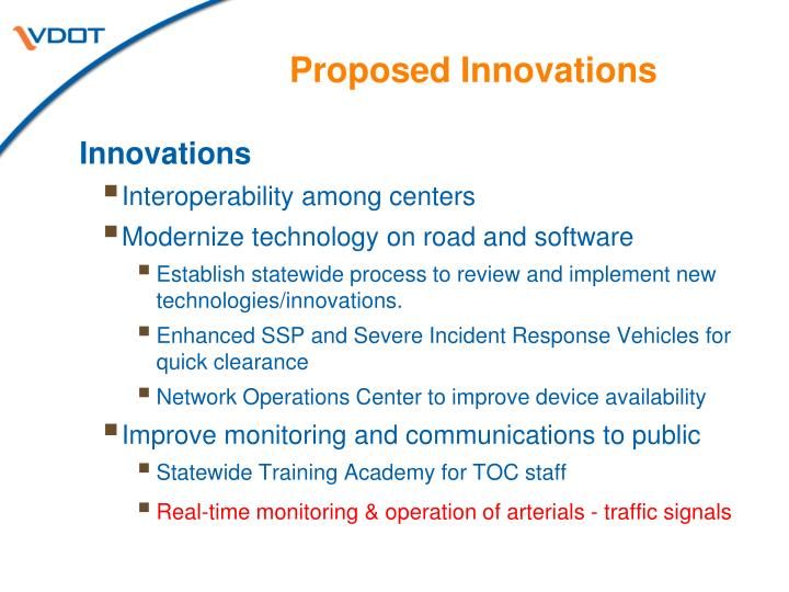Proposed Innovations